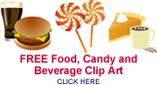 free beverage, candy and food clip
