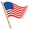 American flag clip art -- waving waves